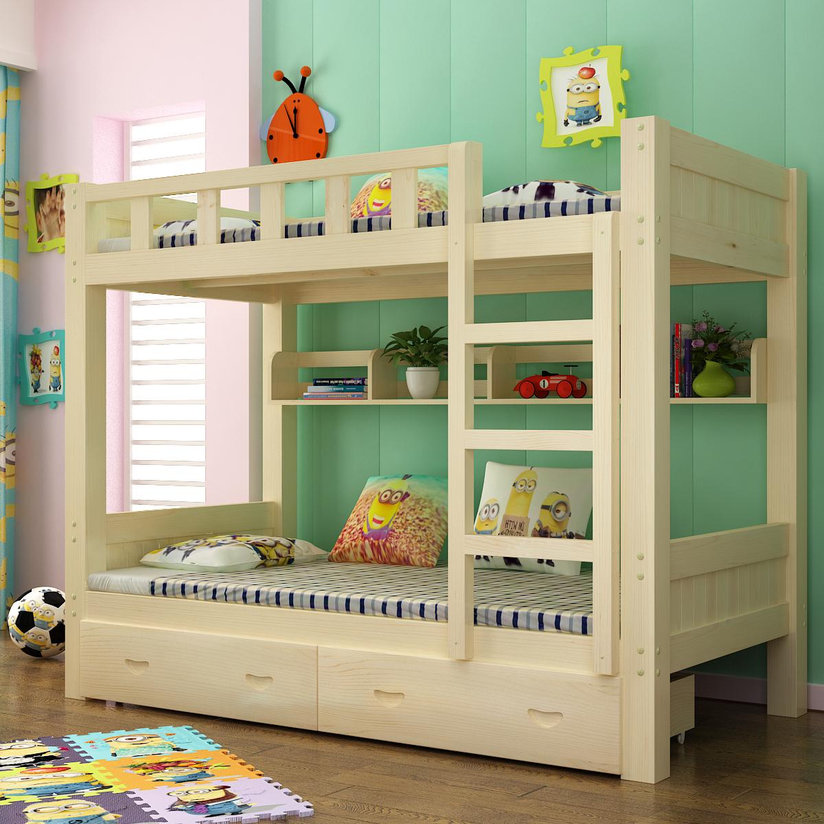 Holz, Holz aus dem Bett Double bed - Bett im schlafsaal für erwachsene Kinder von studenten der moderne, minimalistische