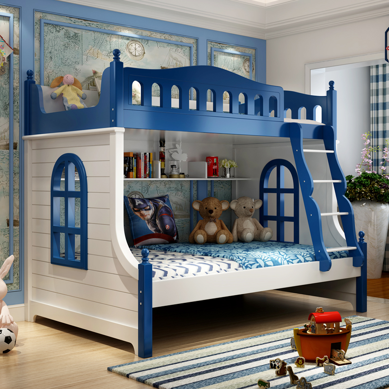 The boy child bed three European bunk beds and double bed double bed cluster adult wood