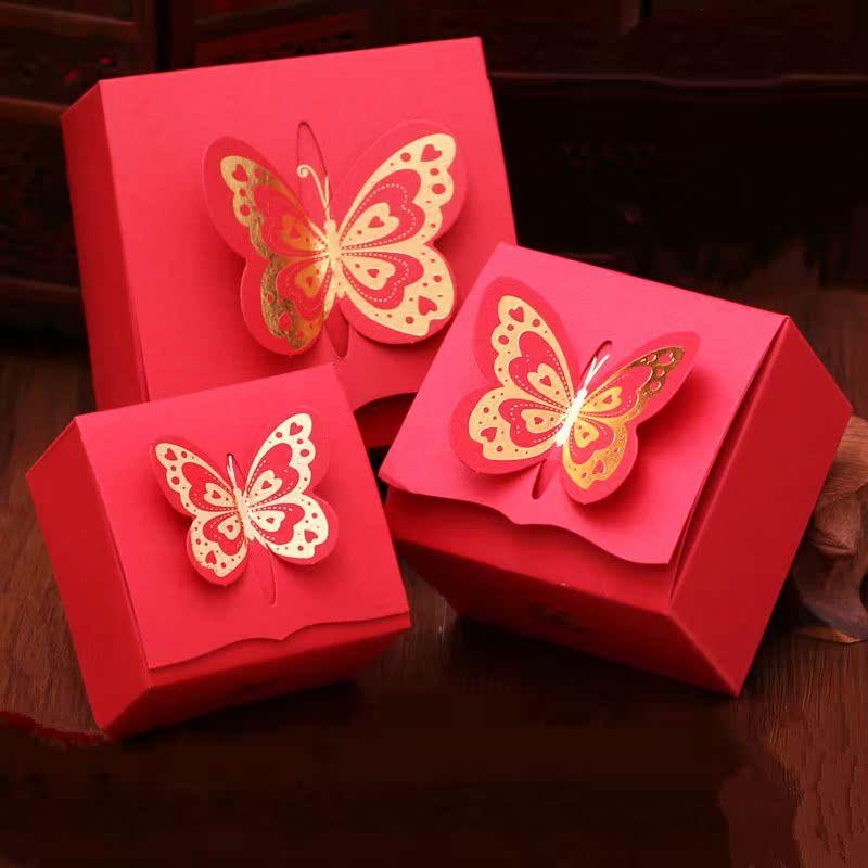 La boda de suministros de la Caja de oro rojo de mariposa la personalidad creativa de azúcar azúcar dulces Caja Caja caja roja.