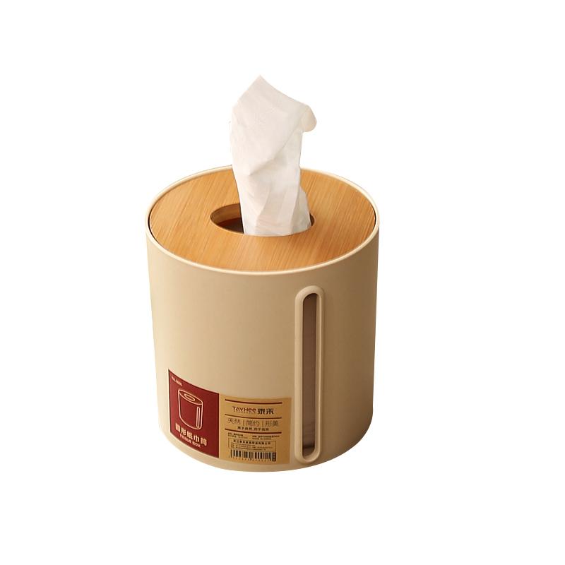 纸巾盒竹木圆形桌面卷纸筒创意欧式简约客厅茶几餐巾抽纸盒卫生间