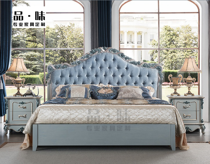 Taste European style solid wood carving, blue make old villa, soft bed, French princess, double marriage bed, bedroom furniture