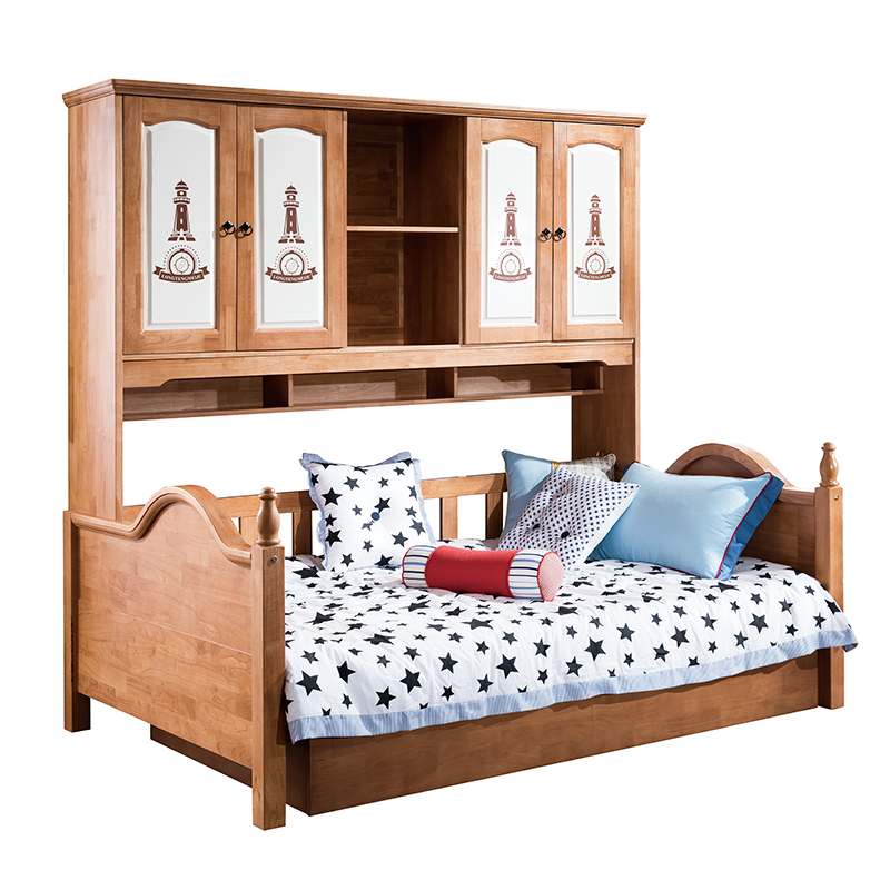 All solid wood bed sheets children 1.2 meters double bed wardrobe bed storage bed Tuochuang multifunctional combined shipping