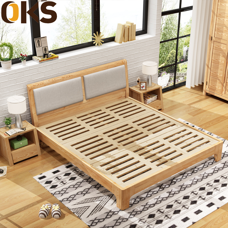 Nordic all solid wood bed, Fraxinus chinensis, 1.5M1.8 meters, double simple modern small apartment, Japanese style bedroom
