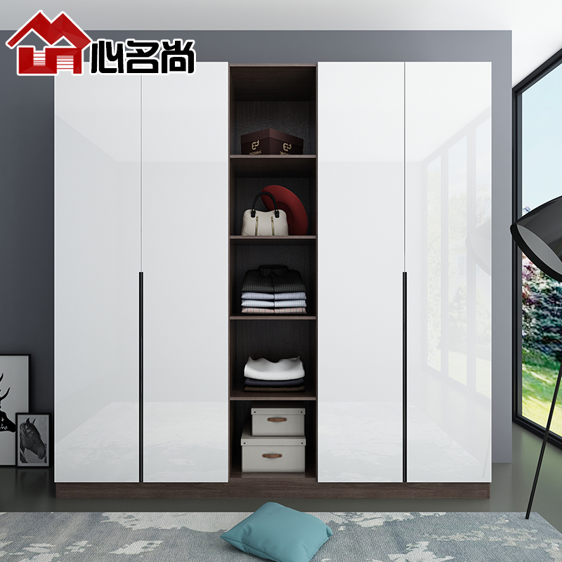 整体衣柜定制现代简约卧室推拉衣柜经济型开放式平开门衣帽间定做