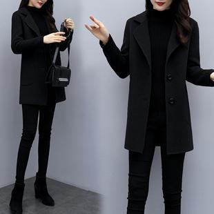 毛呢外套女中长款2019秋冬新款修身大码显瘦韩版气质呢子大衣女