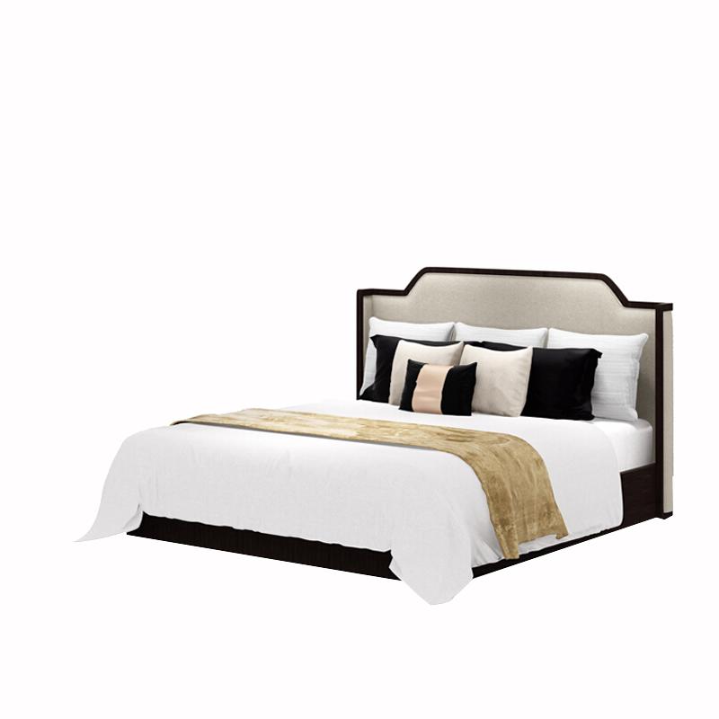 新中国式ベッド後現代の布で1 . 8メートル全実木床モデルハウスホテル会所寝室2.0Mダブルベッド