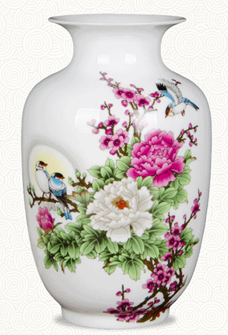 雪景冬瓜瓶不帶底座陶瓷花瓶擺件粉彩薄胎富貴蛋吉祥蛋中式家居裝飾工藝品