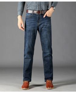 2018年男士弹力牛仔裤弹力舒适中老年商务中高腰宽松直筒裤长裤子