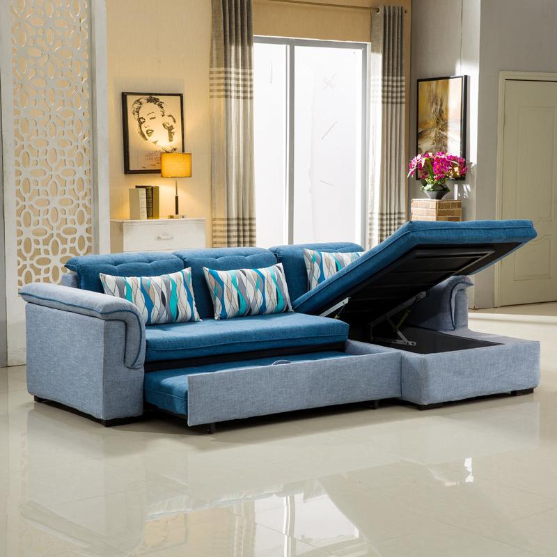 小型現代多機能布製ソファ収納折りたたみ洗い張りグループ両用ソファベッド角