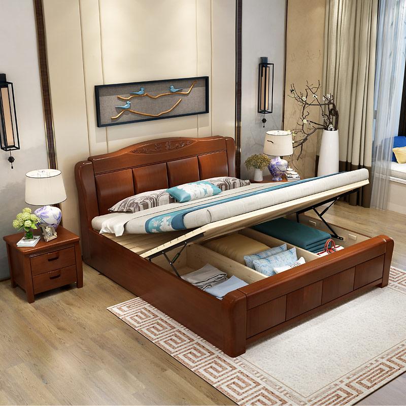 продление деревянных пород древесины Кровать двуспальная кровать 1,5 метров новый китайский контракт современной экономики, типа 1,8 метров высокий ящик хранения спальня