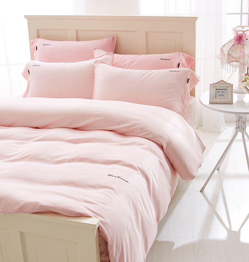The spring and summer of high-end PT Rui ya 60S double blue pure Tencel pure embroidered four piece cotton bedding