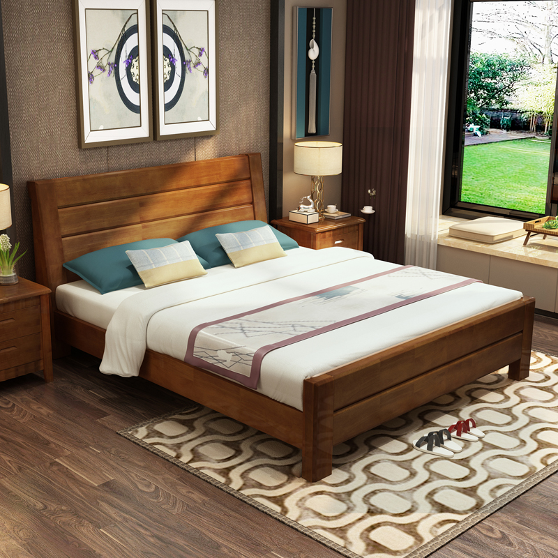 The simplicity of modern solid wooden master 1.5m1.8 meters 1.2 meters double bedroom drawer storage bed type economy