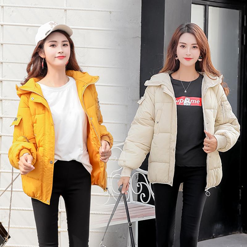 8190实拍短款羽绒棉服新款韩版学生女面包服连帽宽松加厚小外套潮