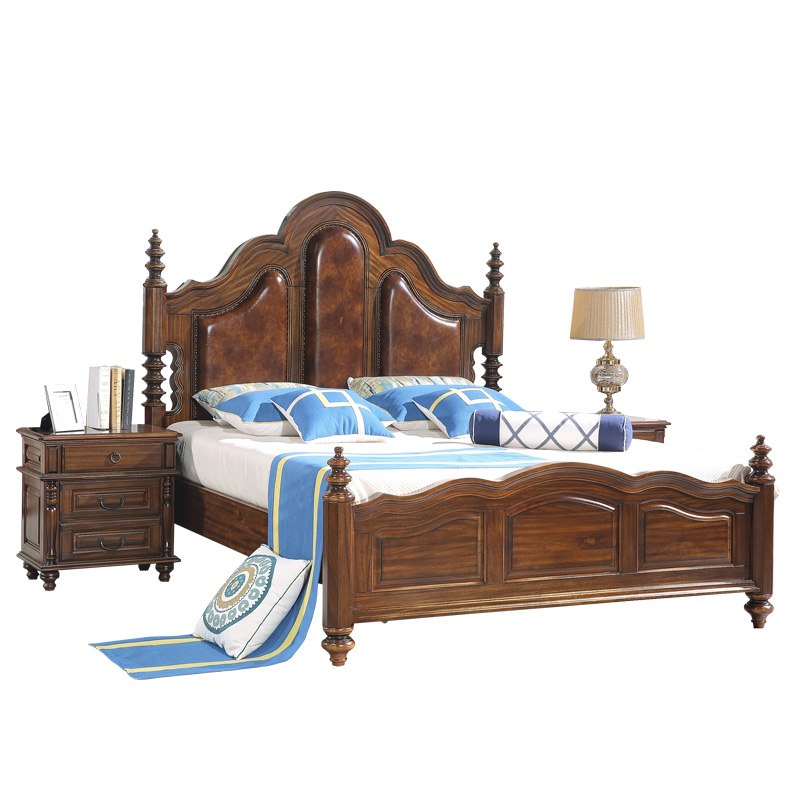 American solid wood bed 1.8 meters double bed wood quality Jane marriage bed 1.5 meters of modern minimalist luxury master bedroom