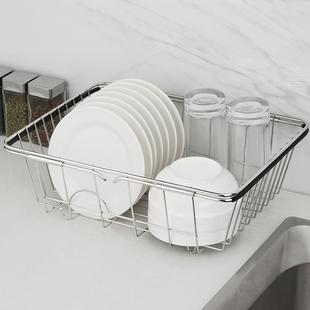 304不锈钢沥水篮厨房水槽沥水架水池洗菜盆滤水篮晾放碗架可伸缩