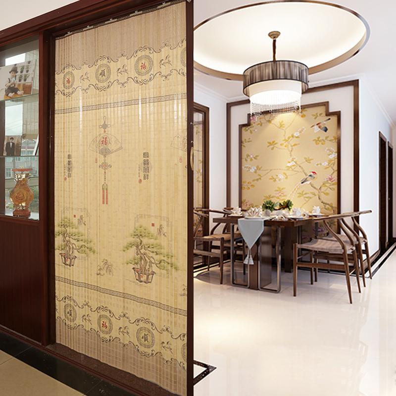 غرف نوم بسيطة قابلة للطي الخيزران ستارة باب التظليل المنزلية اليابانية تخصيص قسم فرعي في غرفة المعيشة انزلاق الباب