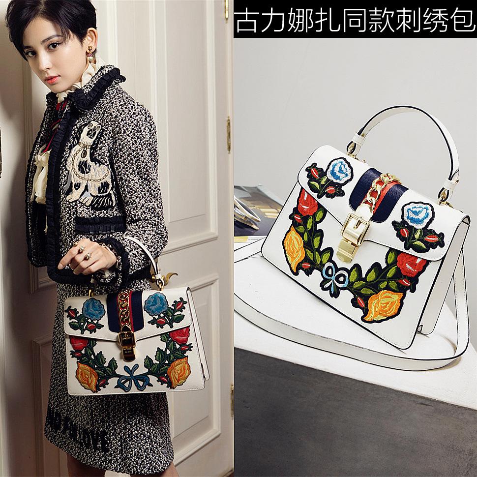 古力娜扎明星同款女包刺绣绣花手提包韩版时尚单肩包斜跨包潮
