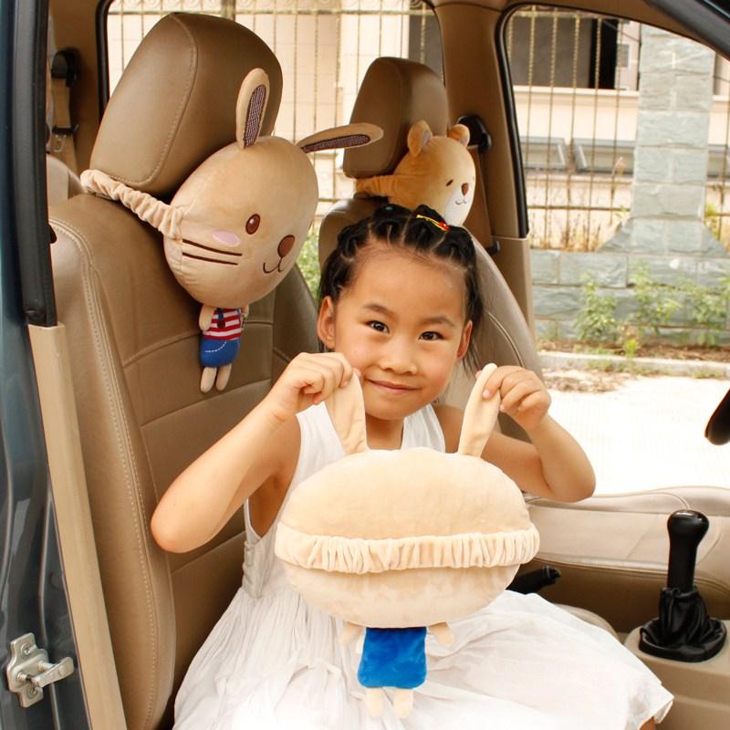 韓版可愛い自動車ヘッドレスト頚枕車両用シートクッション車載護頚枕四季漫画のインテリア用品