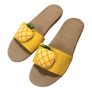 亚麻拖鞋女夏日式水果百搭软底鞋时尚情侣居家防滑防臭平底凉拖鞋