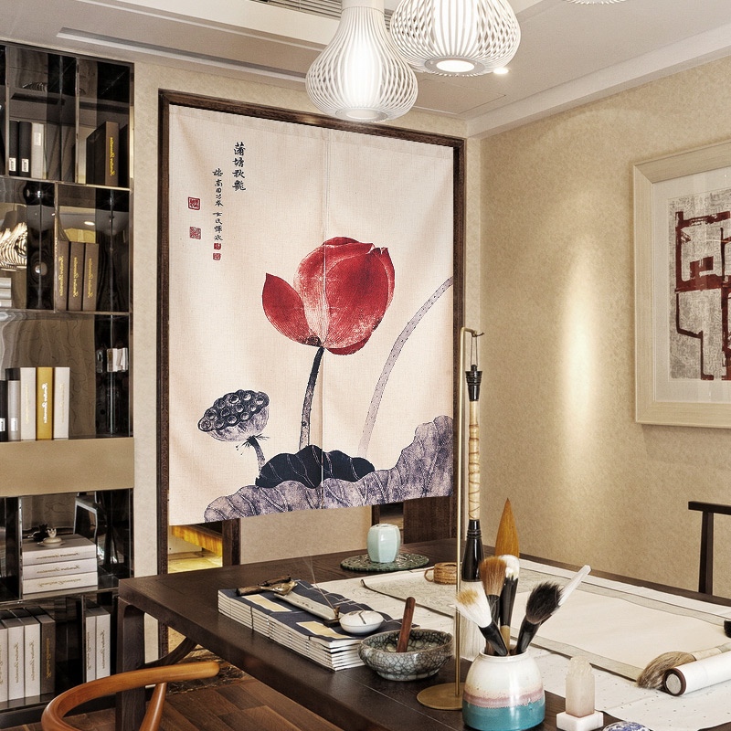 Chinese wind curtain curtain cloth partition household bedroom kitchen bathroom curtain curtain half Chinese free punch
