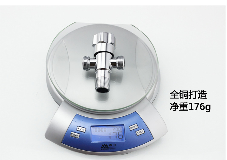 All copper thickening three angle valve, one into two out, double head multi-purpose water purifier, toilet 4 points hot and cold water triangle valve
