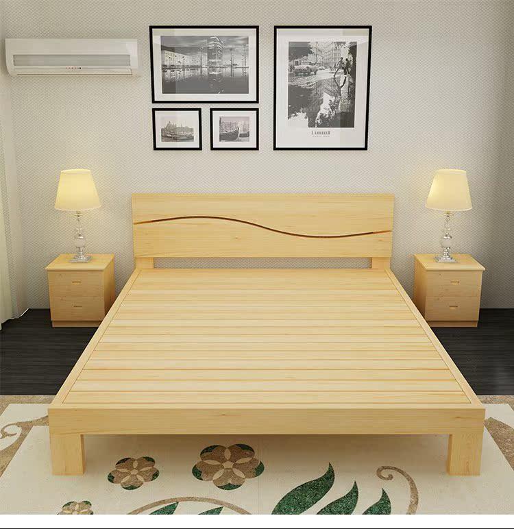 El correo de la cama de madera de pino de cama de 1 metro de ancho, cuna 1.21.51.8 metros de doble simple una cama de madera