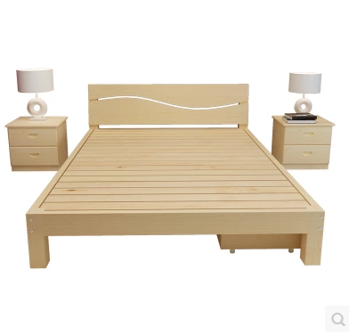 Modern children bed simple wooden bed 1.5 double bed single bed 1.2 meters 1.8 meters of pine Jilin tatami