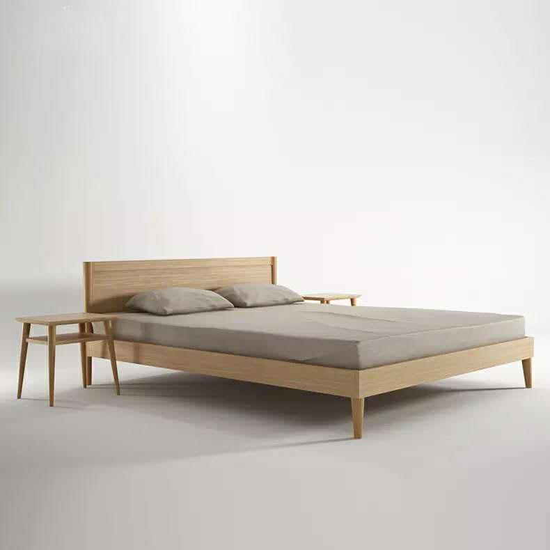 Nordic simple Japanese solid wood back, black walnut oak double bed, modern Chinese 1.5/1.8 meters