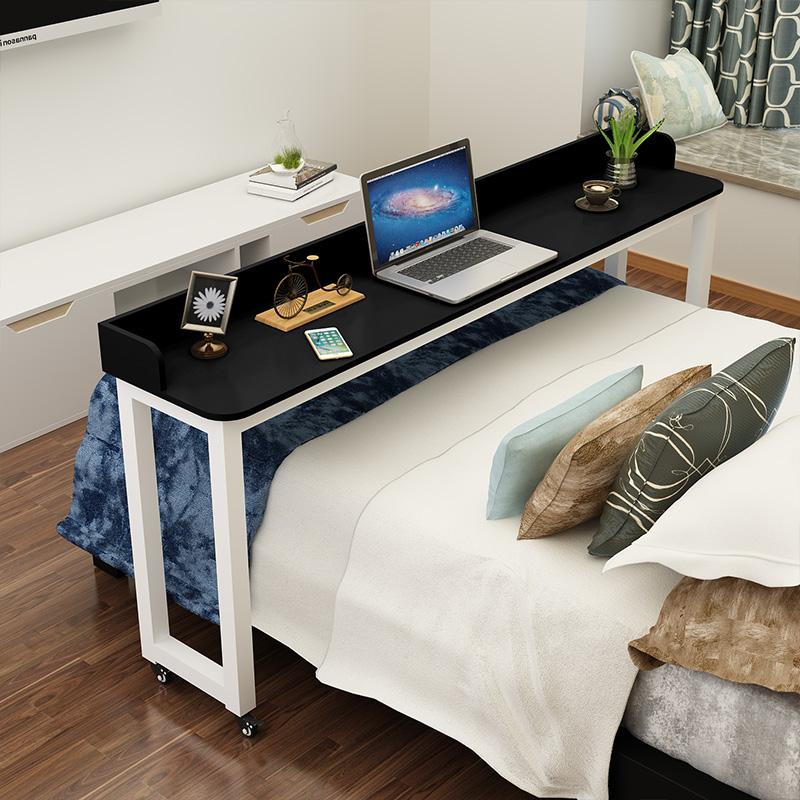 圆角笔记本电脑桌多功能跨床桌床上桌可移动懒人桌床边书桌钢木桌