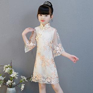 儿童旗袍女童中国风公主夏季中式连衣裙小女孩古筝演出服洋气唐装