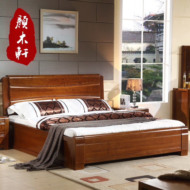 New solid wood bed, 1.5/1.8 meters high box bed double bed, modern Chinese simple whole solid wood storage ash