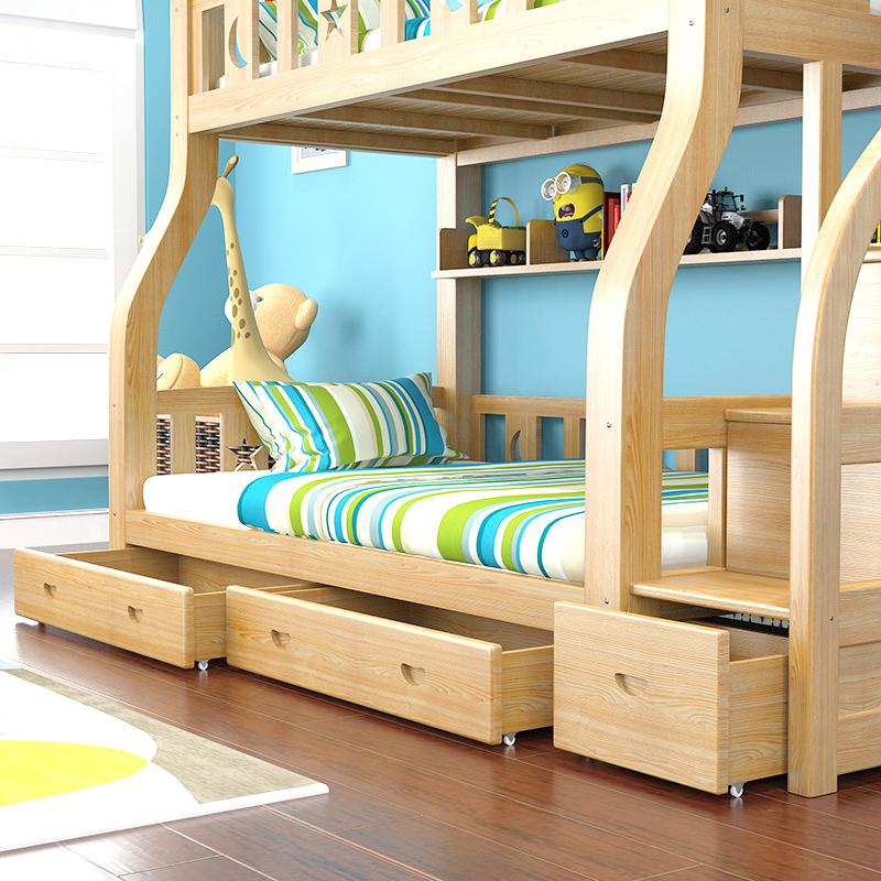 Solid wood bunk combination bed children bed boy under the bed mother bed bunk bed bunk bed and all wood