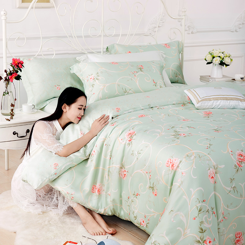 40 four sets of moisture permeability of Tencel bedding single double reactive printing Nordic 2 meters shipping season