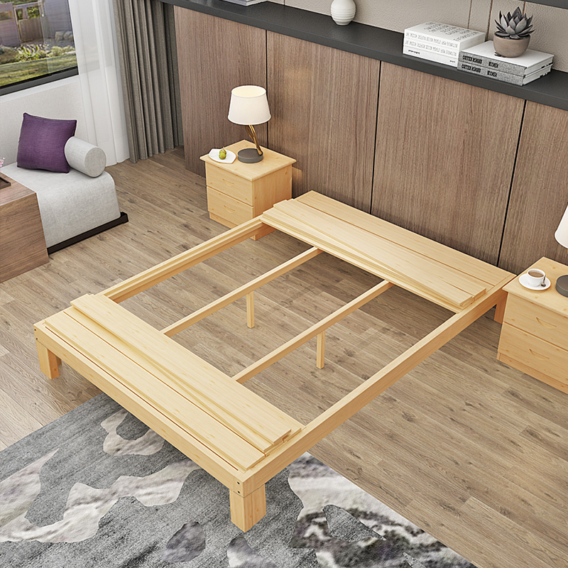 The new tatami simple modern solid wood bed bed double bed 1.51.8 pine 1.2 meters by simple wooden bed