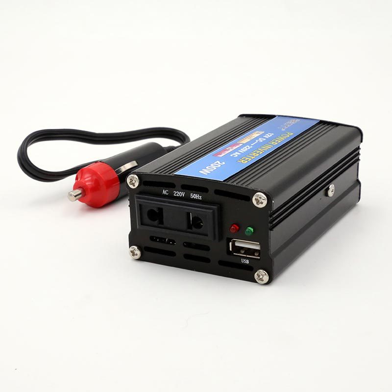 Portable car inverter 12V to 220V200W, with USB interface cigarette lighter line, automotive power converter