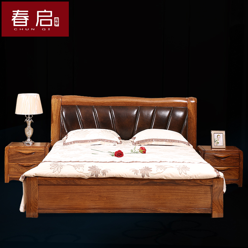 Spring bed double bed new Chinese wood leather leather bed zingana wood solid wood furniture master bedroom bed