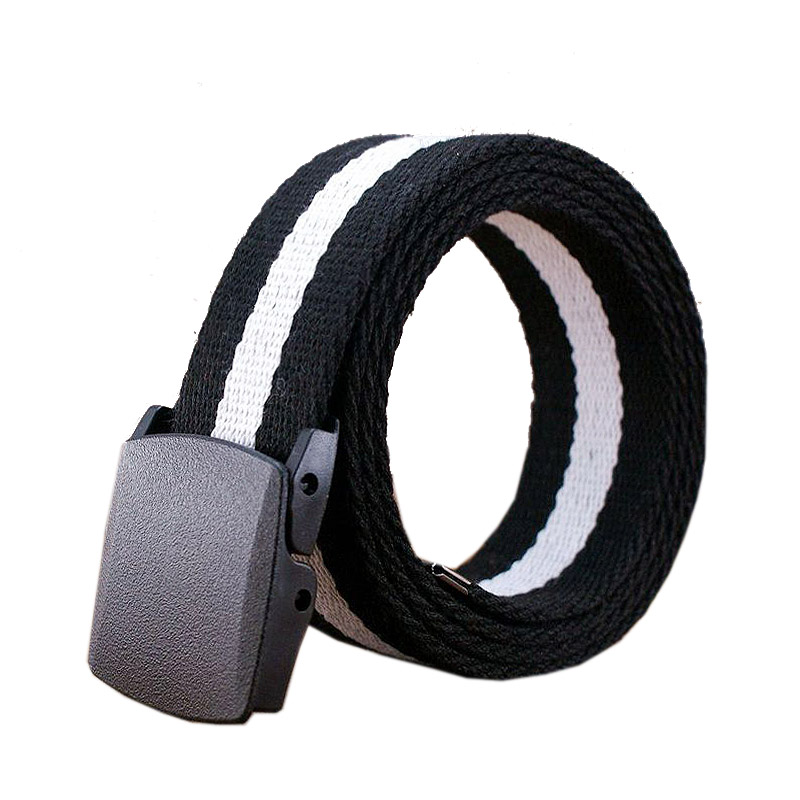 男女通用ズックベルト靑少年バックルベルトバックルプラスチック縞自動カジュアルベルトを長くストラップ