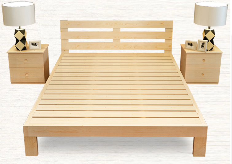 Enclosed wooden double bed, 1.8 meters pine, children's environmental protection, simple modern single bed, simple assembly wood bed