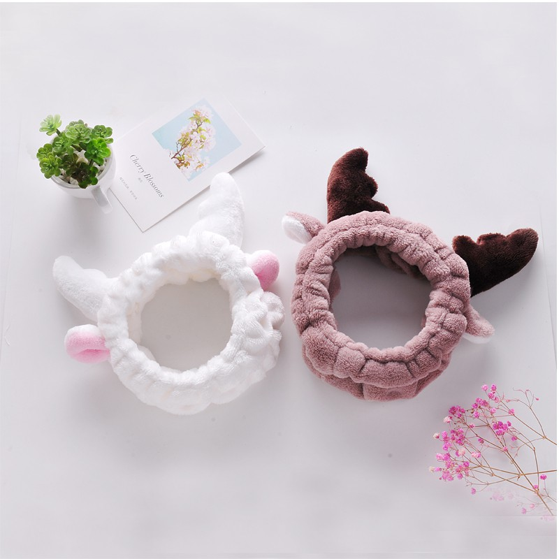 Autumn and winter children thickened with rabbit ears with cute baby plush headband girls hair girl