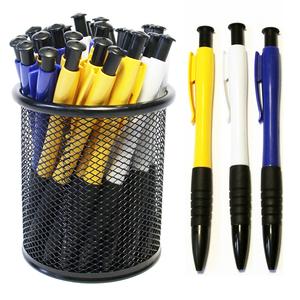 蓝色圆珠笔批发包邮免邮按动油笔广告笔学生办公文具30支60送笔桶