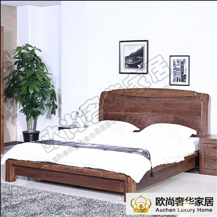 North American black walnut 1.8 meters double bed Nordic style solid wood bed custom furniture custom shipping