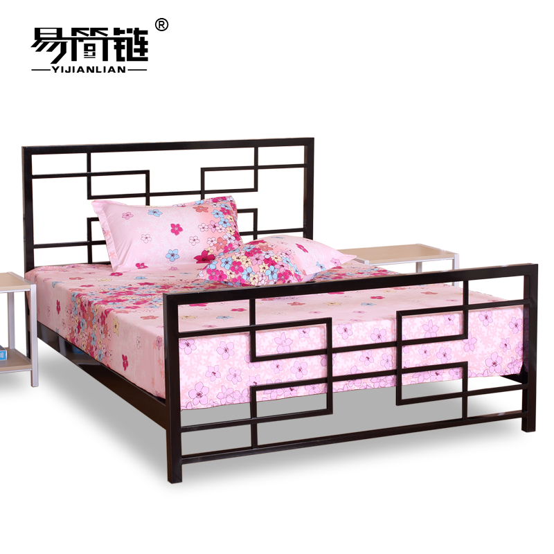 Chinese steel bed iron bed iron bedstead 1.5 meters 1.8 meters double bed simple children bed princess bed