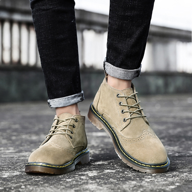 The fall of Martin boots male outfit boots all-match in British leather workers Korean shoes retro high tide help boots