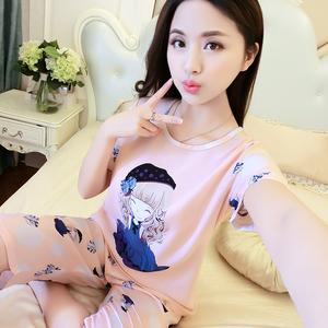 新款短袖可爱棉绸睡衣女士夏季家居服套装春秋人造棉布韩版薄款