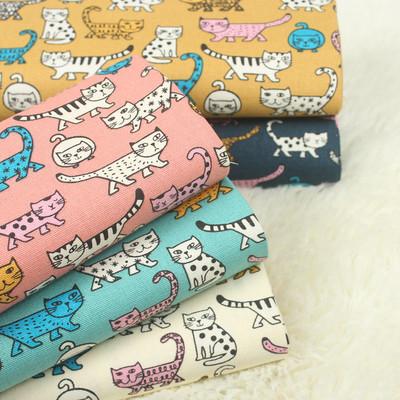 台湾进口棉麻古布卡通可爱猫咪印花布料手工DIY拼布服装面料