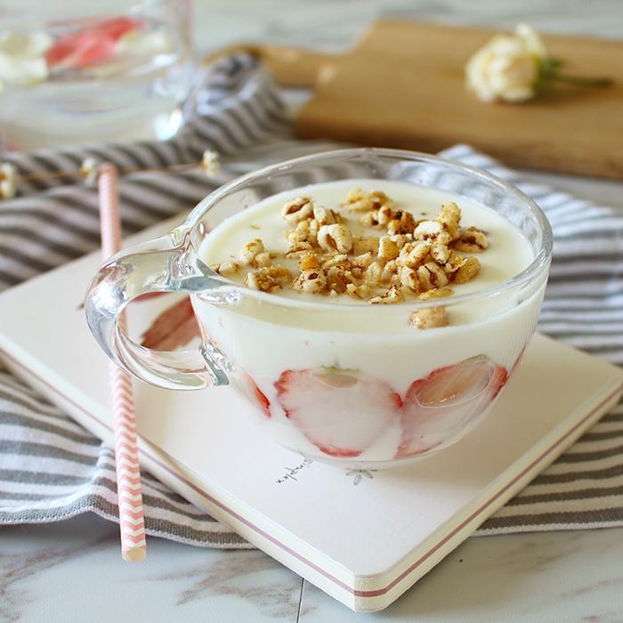 大號+粉色硅膠杯蓋日式耐熱大容量透明玻璃早餐杯 圓嘟嘟大肚手柄牛奶杯 酸奶麥片杯
