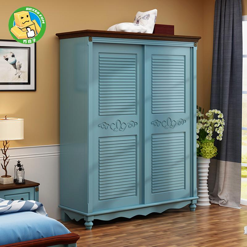 地中海の子供のクローゼットの中の田舎の田舎はルーバールーバードア木質の田園寝室の戸棚の家具