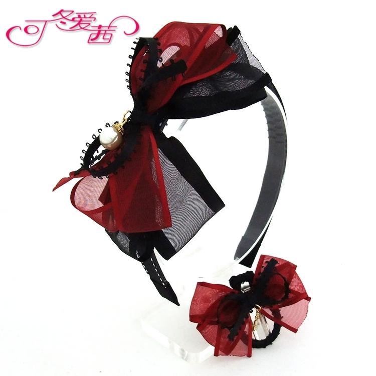 Ot - t608 девочек Корея заколка / детей вино красный и черный снег пряжа большая бабочка зашнуровать зуб шпилька / мода давление волосы