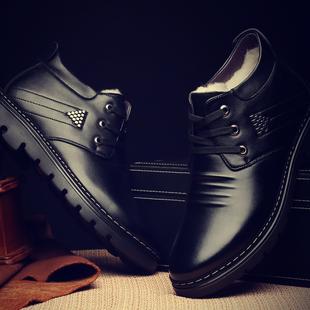 冬季加绒加厚保暖皮鞋高帮休闲男鞋