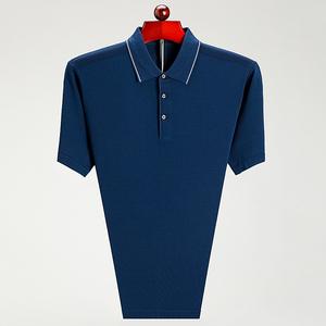 男装夏季中年短袖T恤男翻领爸爸装男装中老年男士体恤桑蚕丝